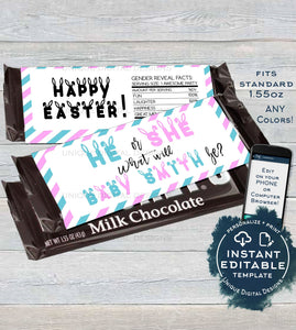 He or She Gender Reveal Candy Bar Wrapper Chocolate Bar Easter Baby Shower decoration Custom Printable  Self EDITABLE 1.55oz
