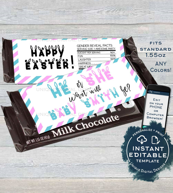 He or She Gender Reveal Candy Bar Wrapper Chocolate Bar Easter Baby Shower decoration Custom Printable INSTANT Download Self EDITABLE 1.55oz