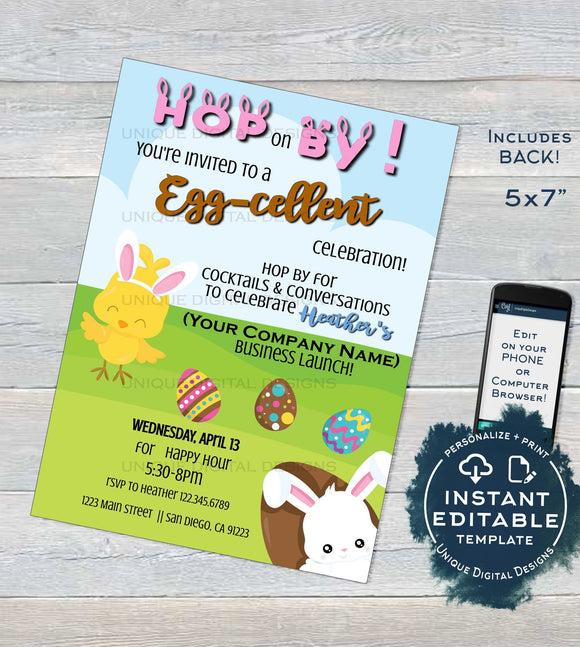 Rodan Skincare Invitation, Editable Business Launch Party, Easter BBL Invite, Hop on By Cocktails Conversations, Printable INSTANT DOWNLOAD