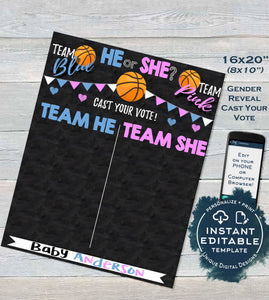 Basketball Gender Reveal Party, Editable Cast Your Vote Sign, Basketball Chalkboard Personalized Custom Digital Printable INSTANT DOWNLOAD
