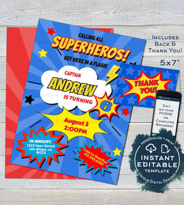 Superhero Birthday Invitation Editable Boys Party Invite ANY Age Boom Bam Pow Custom