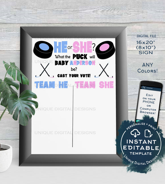 Hockey Gender Reveal Party Cast your Vote Sign, Editable Hockey Sign He or She What the Puck will Baby Be Digital Printable INSTANT ACCESS
