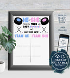 Hockey Gender Reveal Party Cast your Vote Sign, Editable Hockey Sign He or She What the Puck will Baby Be Digital Printable INSTANT DOWNLOAD
