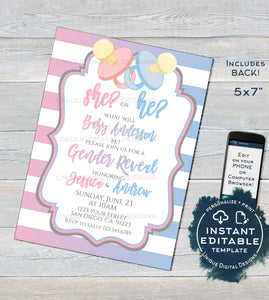 He or She Gender Reveal Invitation, Editable Boy or Girl Baby Shower Invite, What will baby be Blue Pink Pacifier Printable INSTANT DOWNLOAD