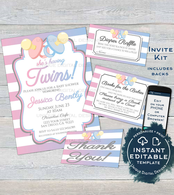 Editable Twins Baby Shower Invitation KIT, Diaper Raffle Books for Baby Insert, Pacifier Twin Boy & Girl Baby Shower Invite INSTANT DOWNLOAD