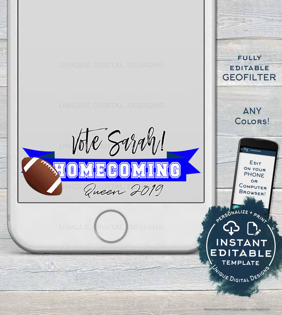Homecoming Snapchat Geofilter, Editable Homecoming Queen Vote Filter, Football Snapchat Frame, Vote Homecoming King, INSTANT DOWNLOAD Filter