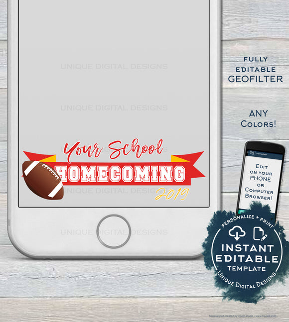 Homecoming Snapchat filter, Editable Homecoming GeoFilter School Spirit Football Snapchat Frame Vote Homecoming King INSTANT DOWNLOAD Filter