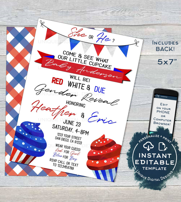 Gender Reveal Invitation, Editable Red White and Due 4th of July Memorial Day Cupcake Baby Shower, July 4th Party Printable