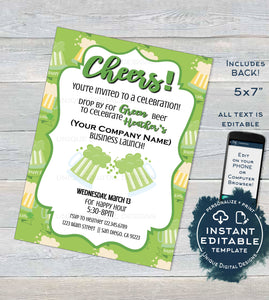 Rodan Skincare Invitation, St Patrick's Day Editable Business Launch Party, BBL Invite R F Cheers Green Beer diy Printable