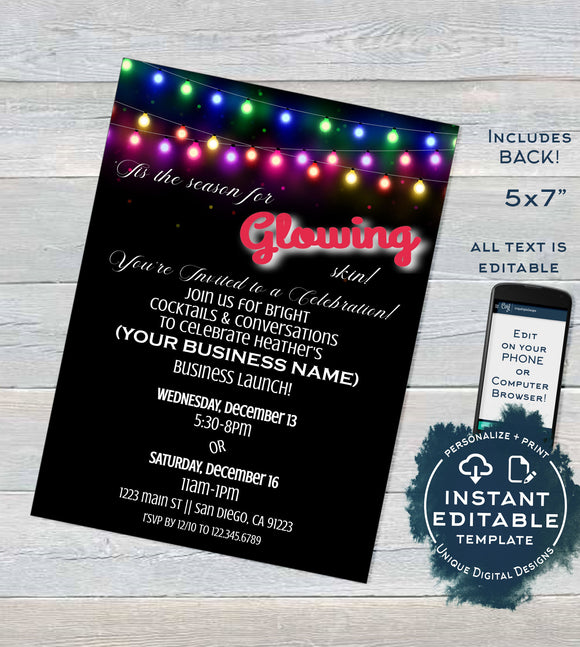 Rodan Skincare Invitation, Glowing Editable Business Launch BBL Invite, R F Cocktails & Conversation Glowing Skin Printable