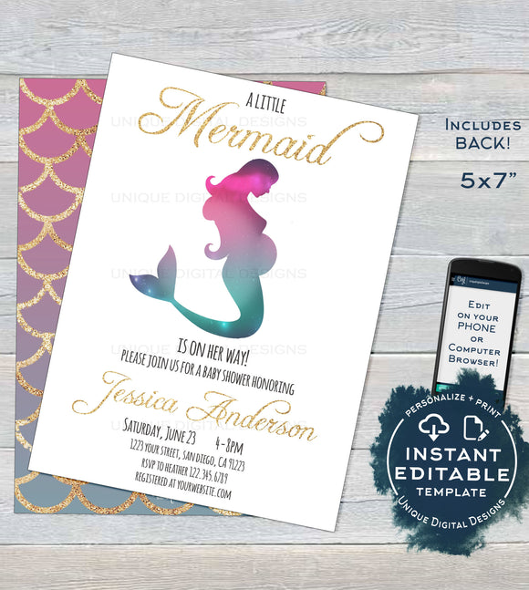 Mermaid Baby Shower Invitation, Editable Girl Mermaid Gold Baby Shower, Under the Sea Baby Sprinkle Printable diy