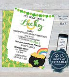 Rodan Skincare Consultant Business Launch Invitation, Editable St Patrick's Day BBL Invite, Lucky Green Cocktails Printable