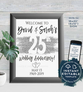 25th Anniversary Welcome Sign, ANY Year, Editable Wedding Anniversary Sign Decor, Silver Glitter diy Printable