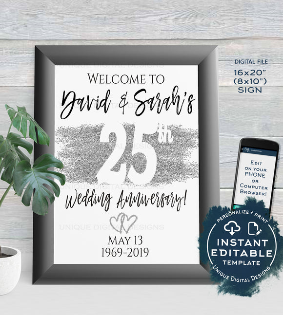 25th Anniversary Welcome Sign, ANY Year, Editable Wedding Anniversary Sign Decor, Silver Glitter diy Printable Template INSTANT DOWNLOAD