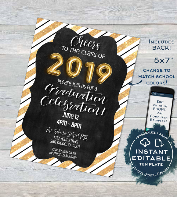 Editable Graduation Invitation, Grad Announcement Card, Celebrate Class of 2019 High School Graduate Party Custom Printable INSTANT DOWNLOAD