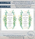 Greenery Wedding Invitation , Elegant Watercolor Succulent Marriage Invite, Gold Boho Eucalyptus Digital Printable
