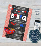 BabyQ Gender Reveal Invitation Red or Blue Baby Shower Girl or Boy Party He or She Stars Stripes BBQ Printable Custom