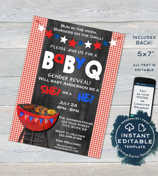 BabyQ Gender Reveal Invitation Red or Blue Baby Shower Girl or Boy Party He  or She Stars Stripes BBQ Printable Custom INSTANT EDITABLE 5x7