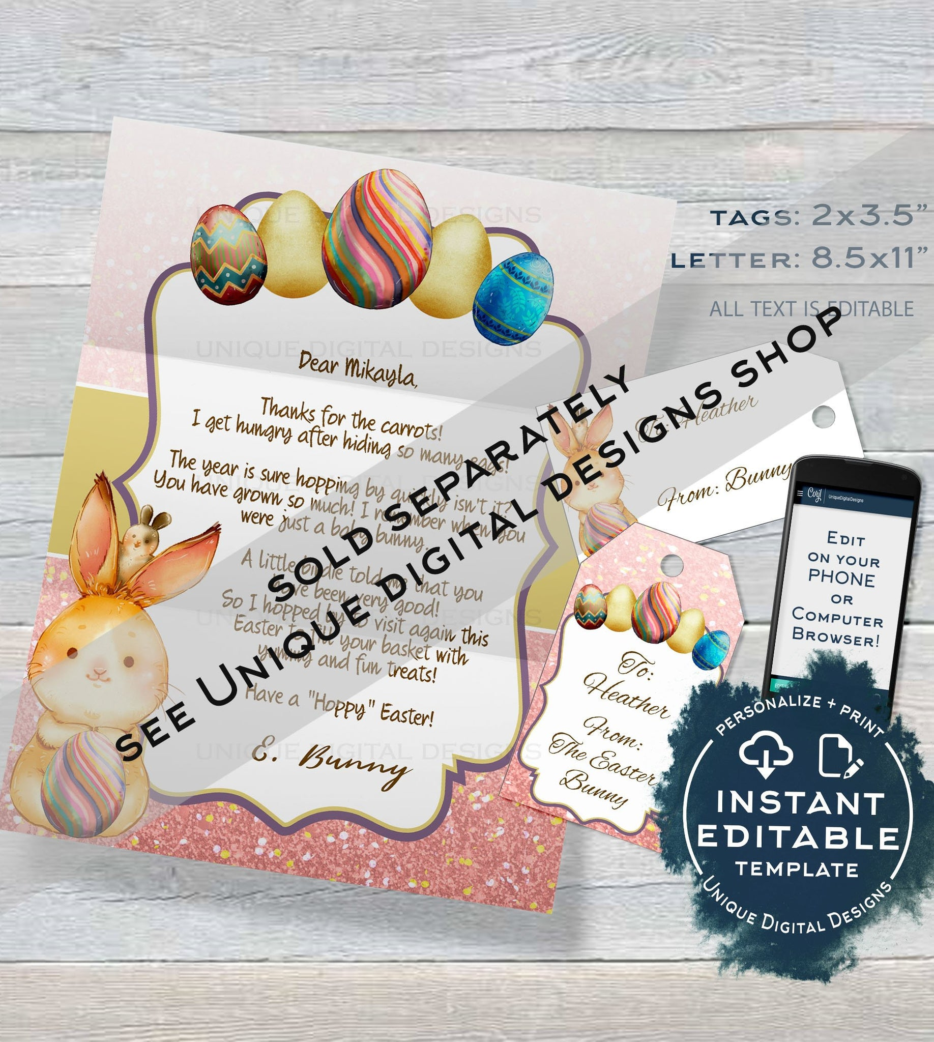 photograph regarding Letter From Easter Bunny Printable named Women Easter Bunny Letter, Editable Letter against the Easter Bunny Observe, Easter Rabbit Entice Information do-it-yourself Customize Printable Quick Down load