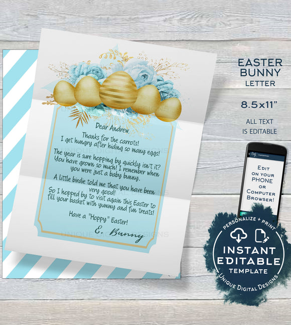 Boys Easter Bunny Letter, Editable Letter from the Easter Bunny Note, Easter Rabbit Trap Message, diy Personalize Printable INSTANT DOWNLOAD