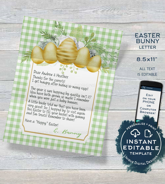 Siblings Easter Bunny Letter, Editable Letter from the Easter Bunny Note, Spring Easter Rabbit Trap Message, Personalize Printable