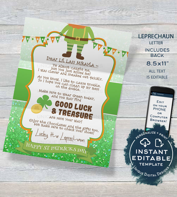 Editable Leprechaun Letter, St Patrick's Day Note, Lucky Irish Leprechaun Trap Message, Personalized Printable Custom INSTANT DOWNLOAD