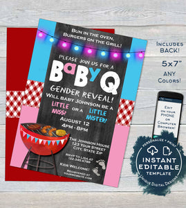 BabyQ Gender Reveal Invitation, Editable He or She BBQ, Pink Blue Baby Shower, Girl or Boy co-ed barbeque Printable Custom INSTANT DOWNLOAD
