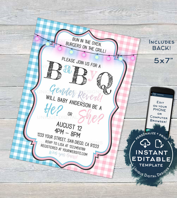Editable BabyQ Gender Reveal Invitation, He or She BBQ, Pink or Blue Baby Shower Party, Gingham Printable Chalkboard Custom INSTANT ACCESS