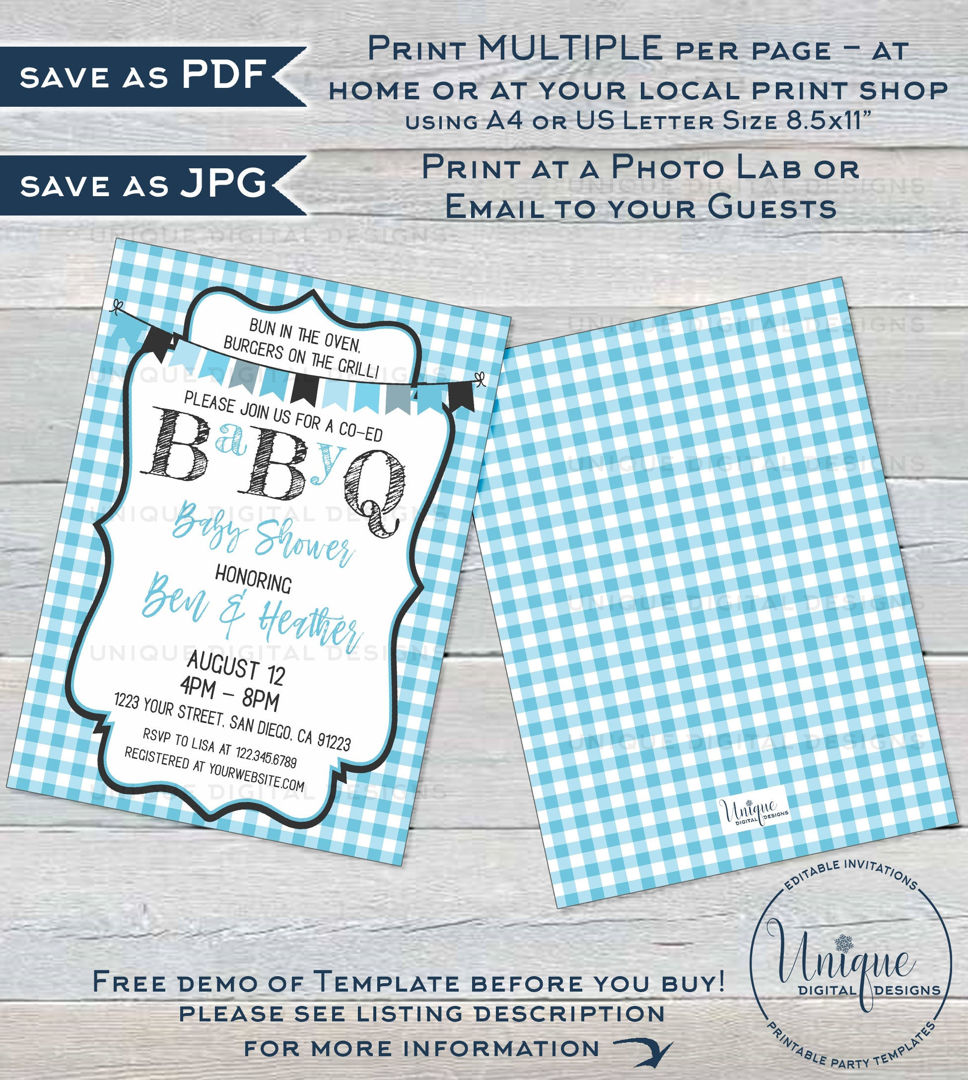 Blue Chalkboard BaByQ Coed BBQ Printable Baby Shower Invitation Editable PDF