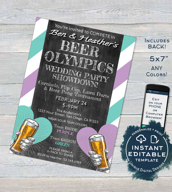 Editable Beer Olympics Wedding Party Invitation, Any Color, Beer Pong Adult Party Invite, Team Bride Team Groom, Printable INSTANT DOWNLOAD