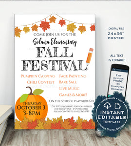 Fall Festival POSTER, Editable Fall Harvest Invitation, Printable Halloween Invitation, Community Church School Flyer INSTANT ACCESS 24x36