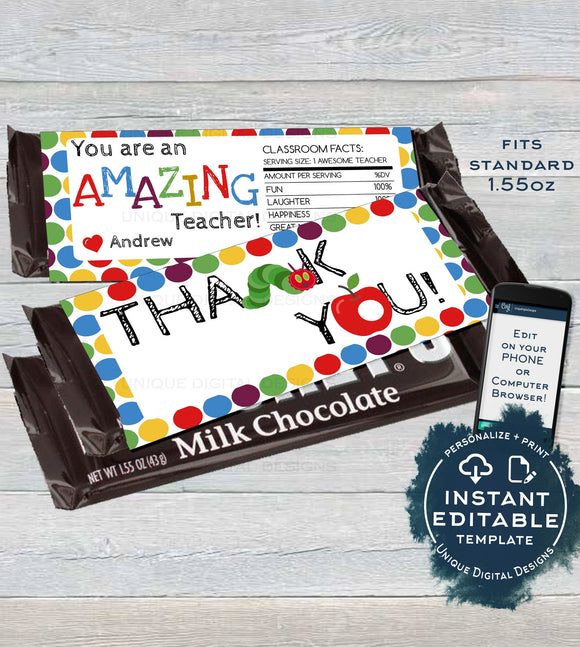 Teacher Appreciation Gift, Editable Candy Bar Wrapper, Teacher Thank You, Chocolate Bar Caterpillar Apple Printable INSTANT DOWNLOAD 1.55oz