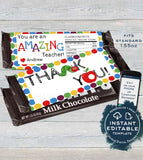 Teacher Appreciation Gift, Editable Candy Bar Wrapper, Teacher Thank You, Chocolate Bar Caterpillar Apple Printable  1.55oz