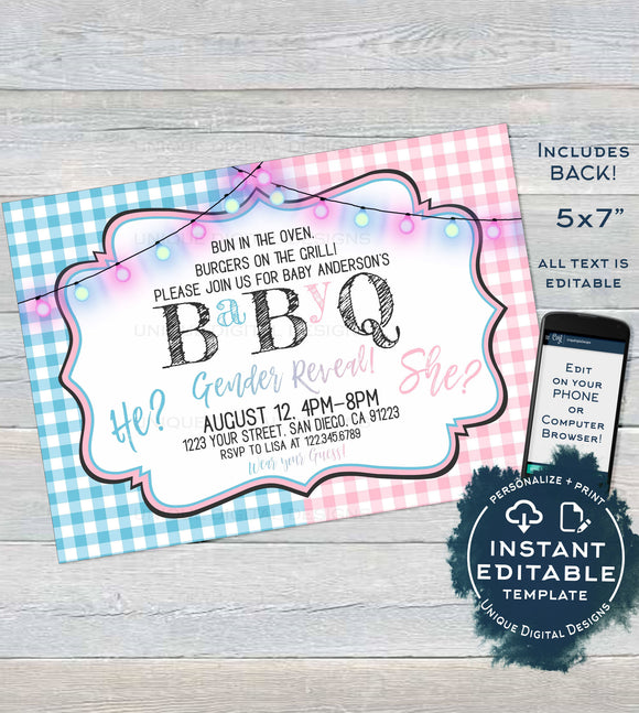 BabyQ Gender Reveal Invitation, Editable He or She BBQ, Pink or Blue Baby Shower Party, Gingham Printable Chalkboard Custom INSTANT ACCESS