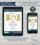 50 year Anniversary Invitation Fiftieth Golden Wedding Anniversary 50th Surprise Party Invite Custom Printable Template INSTANT EDITABLE 5x7