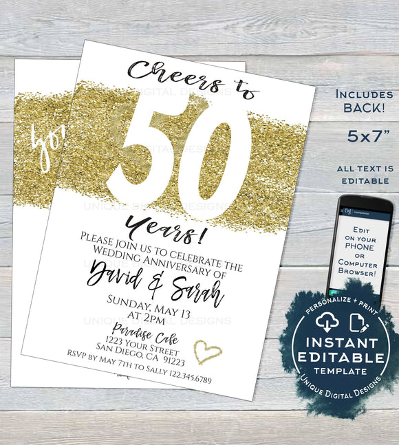 50 year Anniversary Invitation Fiftieth Golden Wedding Anniversary 50th Surprise Party Invite Custom Printable