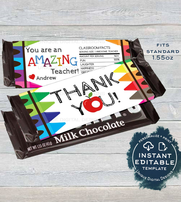 Teacher Appreciation Gift, Editable Candy Bar Wrapper Template, Teacher Thank You, Chocolate Bar Crayons, Printable INSTANT DOWNLOAD 1.55oz