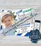 Editable Dinosaur Food Cards, Stomp Chomp Roar Food Labels, Dinosaur Birthday theme Food Tent decorations Custom Printable INSTANT DOWNLOAD