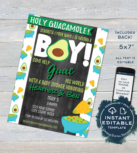 Holy Guacamole Baby Shower Invitation, Editable Avocado Baby Boy Invite, Cinco de Mayo Fiesta Chalkboard Custom Printable