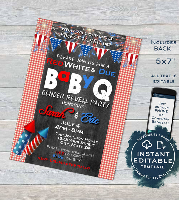 BabyQ Gender Reveal Invitation, Editable 4th of July Firecracker Baby Shower, red white and due bbq Party, Custom Printable INSTANT DOWNLOAD