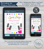 Editable Spa Party, Girls Day Out Invitation, Girls Spa Day Birthday Invite, Any Age, Sleepover Pink Party Printable INSTANT DOWNLOAD 5x7