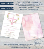 Editable Pink Floral Baptism Invitation , Baby Girl Baptism Invite with Monogram, Heart Cross Printable Christening