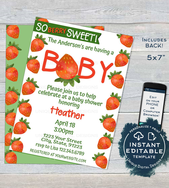 Strawberry Baby Shower Invitation, Editable So Berry Sweet Baby Shower Invite, Neutral Farmers Market Chalkboard, Printable