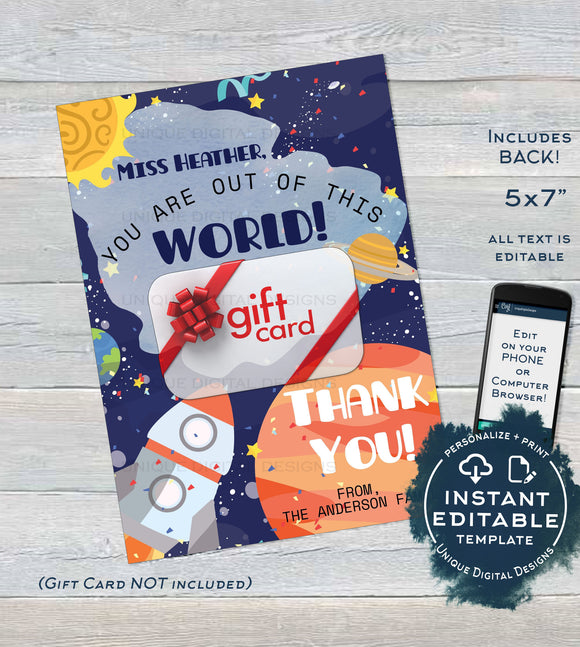 Editable Teacher Gift Card holder, Staff Thank You Card, Space Printable Teacher Appreciation, Out of this World Printable