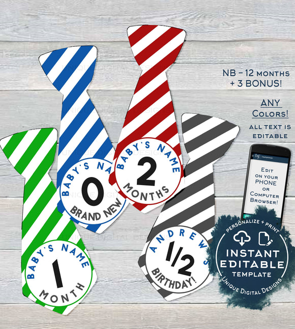 Baby Boy Ties, Editable Milestone Stickers for Boy, Baby Photo Prop Bodysuit Monthly Sticker, diy Digital Printable Custom INSTANT DOWNLOAD