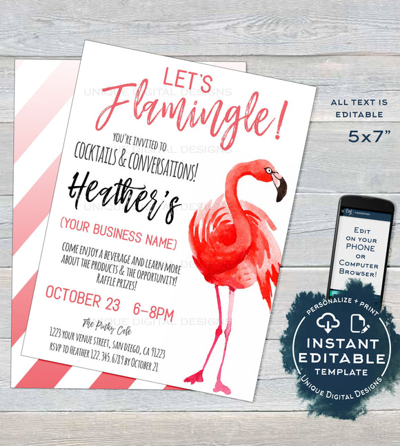 Let's Flamingle Cocktails and Conversation Invitation, Editable RF Business Launch Invite, Pink Flamingo Printable