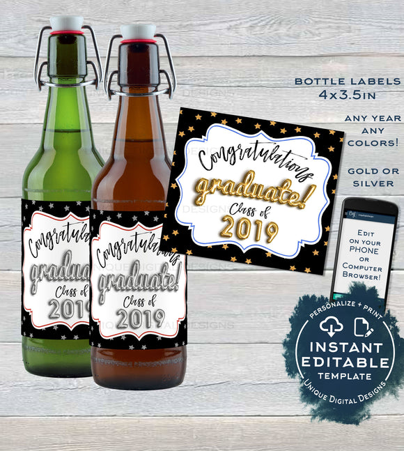 Graduation Beer Bottle Label, Editable Beer Label Sticker, College Class of 2019 Party Decoration, Personalized Printable INSTANT DOWNLOAD