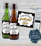 Graduation Beer Bottle Label, Editable Beer Label Sticker, College Class of 2019 Party Decoration, Personalized Printable