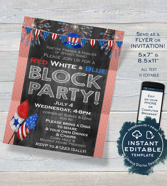4th of July Block Party Invitation, Editable July 4th Street Party Flyer, Red White Blue Firecracker BBQ Neighborhood Print INSTANT DOWNLOAD