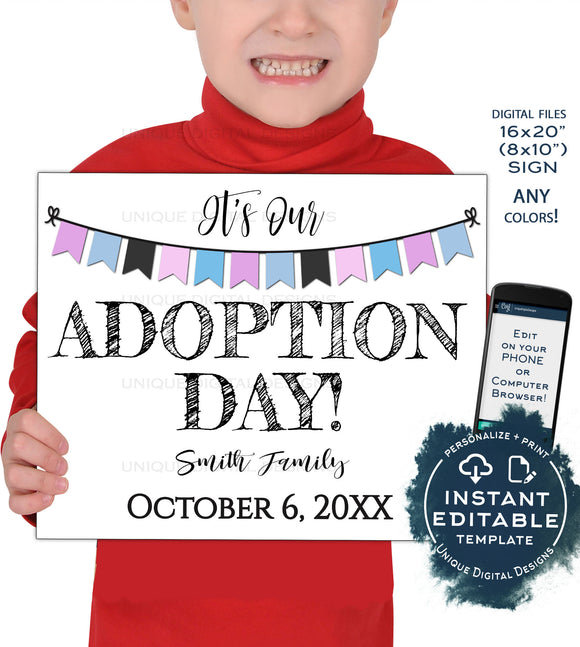 Siblings Adoption Day Sign, Editable It's My Adoption Day Photo Prop Announcement, Girls and Boys diy Printable